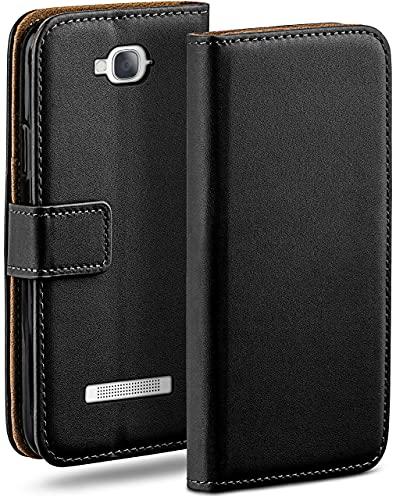 moex Klapphülle kompatibel mit Alcatel One Touch Pop C7 Hülle klappbar, Handyhülle mit Kartenfach, 360 Grad Flip Hülle, Vegan Leder Handytasche, Schwarz