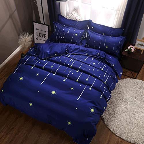 DOTBUY Parures de Lit 2 Personnes 3 Piècess, Microfibre Housses de Couettes avec 2 Taies d'oreillers pour 140x200 200x200 220x240 Météore étoile (1 * 140x200cm+2 * 50x75cm, Bleu Foncé)