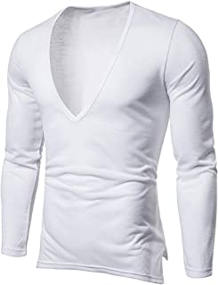 Men's Fashion Solid Color Casual Long-Sleeved T-Shirt Deep V-Neck Tops