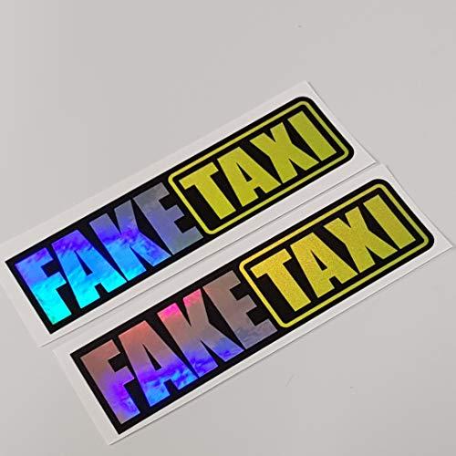 folien-zentrum 2X Fake Taxi Hologramm Oilslick Rainbow Flip Flop Schwarz Aufkleber Metallic Effekt Shocker Hand Auto JDM Tuning OEM Dub Decal Stickerbomb Bombing Sticker Illest Dapper Fun Oldschool