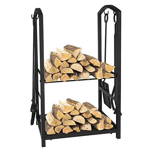 Estante de leña para leña, juegos de herramientas para chimeneas de 4 piezas, portaequipajes para chimeneas de interior al aire libre, almacenamiento, hierro forjado negro