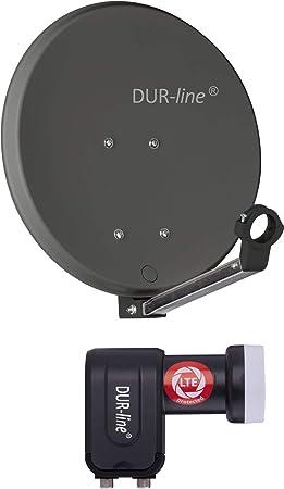 DUR-line DSA 40 cm antracita + Twin LNB – Juego de 2 participantes, espejo de aluminio duro de alto rendimiento – [antena satélite, antena parabólica, ...