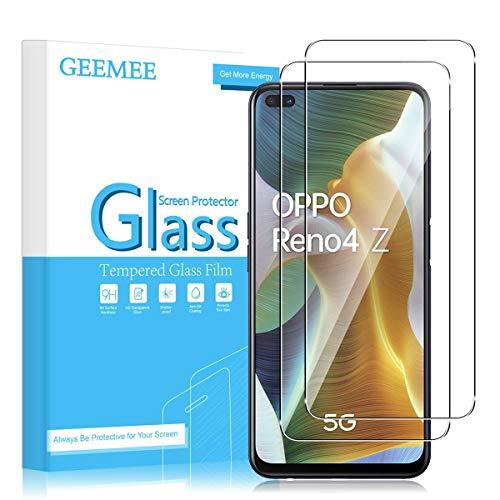 GEEMEE Protector de Pantalla para OPPO Reno 4Z 5G, Cristal Templado Película Vidrio Templado 9H Alta Definicion Glass Screen Protector Film (Transparente) para Reno4 Z - 2 Pack