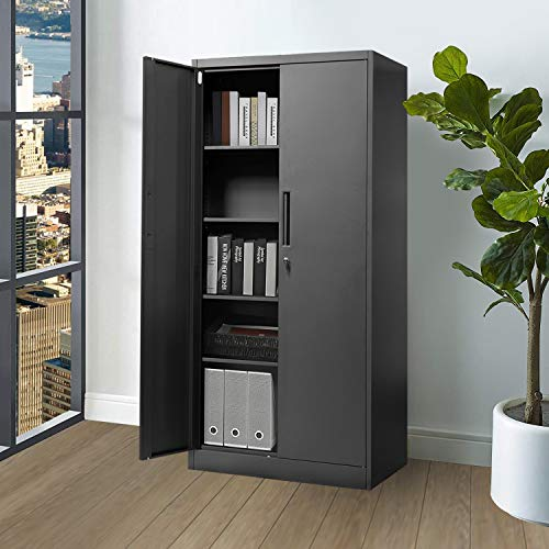 Steel Storage Cabinet, Office Cabinet with 4 Storage Shelves and Double Doors, for Garage and Utility Room, Home Office,Patio and Laundry Room(Black)