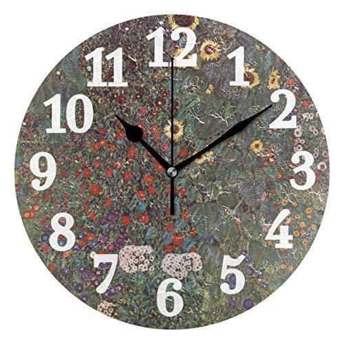 Ahomy Silent Runde Wanduhr Gustav Klimt Bauernhof Garten mit Sonnenblumen Home Art Decor 25,4 cm Uhr für Wohnzimmer, Schlafzimmer und Küche
