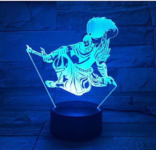 League of Legends LED3D Illusion Nachtlicht Touch Fernbedienung 7 Farbe Yasuo Spiel Modell Tischlampe Illusion Schlafzimmer Dekoration Kinder Weihnachten Geburtstagsgeschenk