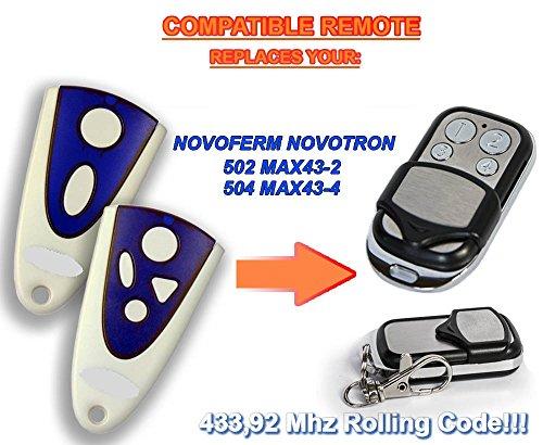 NOVOFERM NOVOTRON 502 MAX43-2, 504 MAX43-4, kompatible Fernbedienung, 4 Kanäle 433,92 MHz, Rolling-Code-Ersatz, hochwertiger Sender für den besten Preis!
