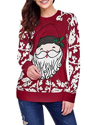 GOSOPIN Damen Weihnachten Pullover Rundhals Oberteil Langarm Pulli Christmas Sweatshirt Sweater mit Rudolph Rentier Santa Claus und Schnee Strickpulli Winter S-XXL