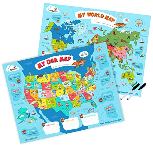 FlyingKids World Map & USA Map for Kids - poster set of the world and the United States (18 x 24). LAMINATED maps + 2 dry-erase pens Included. Wall chart posters perfect for classroom and nursery room