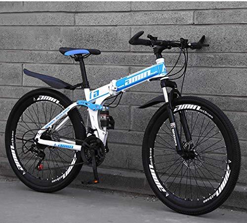 Y-LKUN Bicycle Bike Mountain Bike Folding Bikes, 26In 21Speed Double Disc Brake Full Suspension Antislip, Lightweight Aluminum Frame, Suspension Fork (Color : Blue, Size : C)