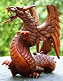 G6 Collection Wooden Dragon Handmade Sculpture Statue Handcrafted Gift Art Decorative Home Decor Figurine Accent Decoration Artwork Hand Carved Dragon (8.5' Tall)