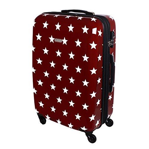 Karry , Valigia , XL Hartschalen Reise Koffer Trolley TSA 80 Liter Rot Sterne 820 (rosso) - 49427561