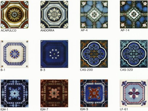 150角 デザインタイル 花柄 イスラム風(昭和レトロ)な磁器絵タイルです。インテリア 壁、床(キッチン カウンター・テーブル・浴室)のDIYリフォームにお勧めです。モザイクタイル、コースター、鍋敷き等、アンティーク・インテリア雑貨としてもOK