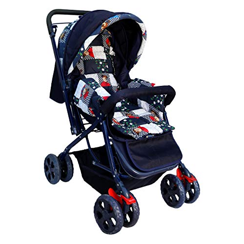 Babygo B-Wagon Reversible Baby Stroller and Pram (Dotted Blue)