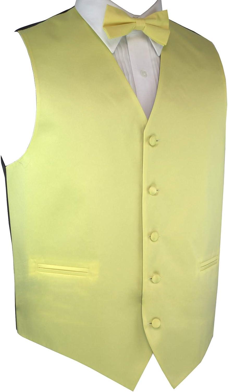 Italian Design, Men's Tuxedo Vest, Bow-Tie & Hankie Set in Canary