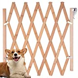 """Expandable Accordion Dog Gate, Wooden Accordian Expansion Gate for Doorway Stairs, Folding Gate Safety Protection for Small Medium Pet Dog, 8"""" to 43"""" W, 27"""" H"""