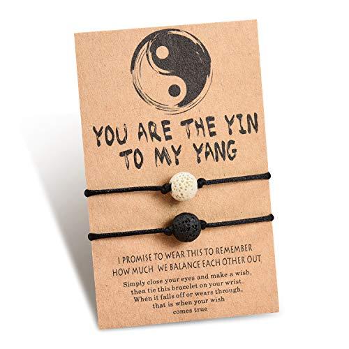Shonyin Yin Yang Long Distance Bracelets Handmade Couple Matching Bracelet Set Lave Stone Beads Best Friend Friendship Jewelry Gifts For Women Men Him Her Boyfriend Girlfriend