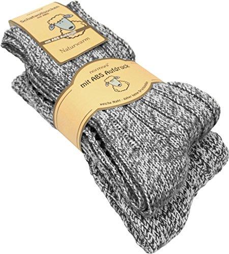 normani 2 Paar Antirutsch Norweger Socken mit ABS Sohle Farbe Grau Größe 47-50