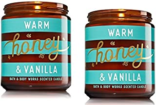 Bath and Body Works Warm Honey and Vanilla Medium One Wick Candle - 2 Pack
