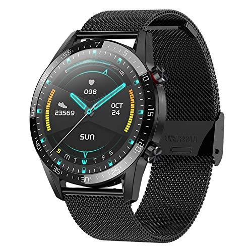 YNLRY Reloj inteligente con llamada Bluetooth, para hombre, mujer, deportivo, fitness, ritmo cardíaco, presión arterial, monitoreo de salud para Android IOS (color de acero negro)