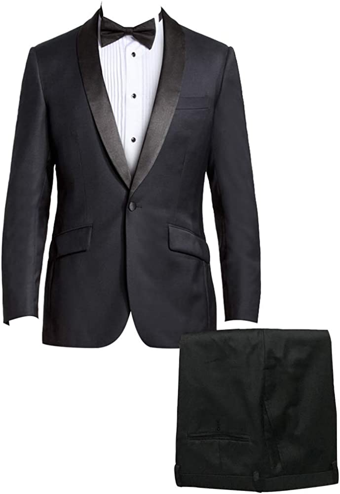HBDesign Men 2 Piece OFFicial 1 Button Shawl Suit B Max 52% OFF Formal Lapel Business
