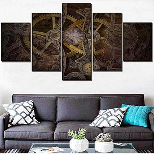 RGHJH Wall Art Picture Canvas Print One Set 5 Panel Sci Fi Steampunk Gears and Clock Poster Home Decor Living Room Modern Artwork