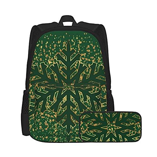 Juego de mochila y estuche para lápices, combinación, mochila de trabajo y estudio y bolsa de cosméticos, color verde oscuro