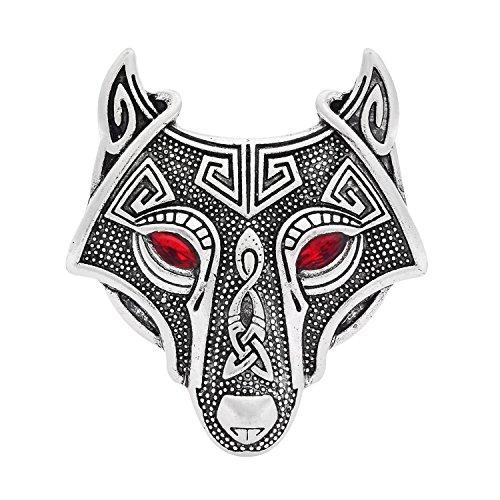Viking Norse Wolf Head Bird Skull Brooch Pin Gothic Irish Viking Scarf Lapel Pin(Silver with red)