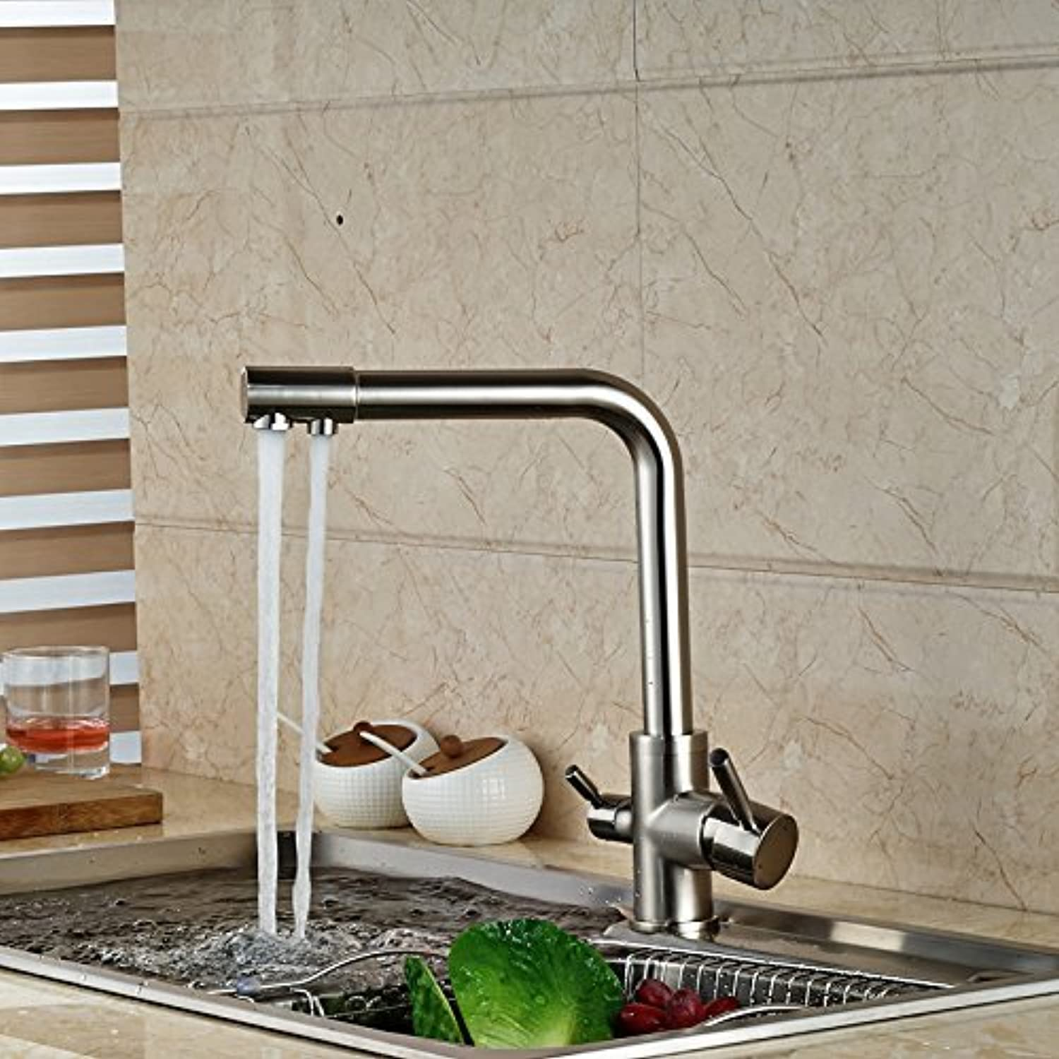 The Brushed Nickel Dual tulles Kitchen Bath Rooms Fitting Mounted Bridge Pure Drinking Water taps, Water Faucet