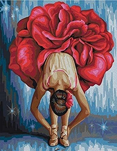 Pintura por número bailarina niña falda roja DIY pintura al óleo lienzo adulto pintura digital principiante -40x50cm