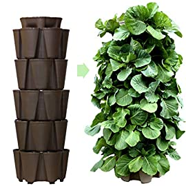 Greenstalk Huge 5 Tier Vertical Garden Planter with Patented Internal Watering System Great for Growing a Variety of Strawberries, Vegetables, Herbs, Flowers (Chocolate Brown) 9 The GreenStalk system is proud to be designed and manufactured completely in East TN. Made with high quality, BPA-free, UV-resistant plastic with a 5 year warranty To water the entire system use GreenStalk's patented watering system: simply fill to the 5 tier mark on the top water reservoir to water all the tiers below. Easily grows a wide variety of vegetables, herbs, strawberries and flowers including potatoes, lettuce, corn, and tomatoes