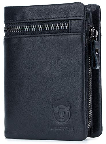 BULLCAPTAIN Men Leather Wallet RFID Blocking Bifold Wallet with 2 ID Window Zipper Coin Purse 1
