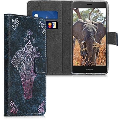 kwmobile Funda para Huawei P9 Lite - Carcasa de Cuero sintético con diseño de Elefante artístico - Case con Tarjetero