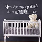 """BATTOO You are Our Greatest Adventure Wall Decal Nursery Wall Decal Arrow Wall Art Baby Nursery D¨¦cor Woodland Theme Wall Decal 60"""" Wide by 18"""" Tall,White"""