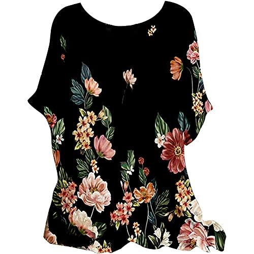 NHNKB Camiseta de manga 3/4 para mujer, para verano, informal, cuello redondo, algodón y lino, holgada, túnica, madera, M