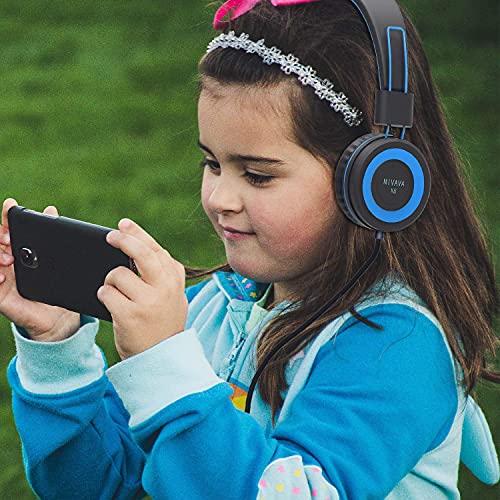 NIVAVA K8 Kids Headphones for Children Boys Girls Teens Wired Foldable Lightweight Stereo On Ear Headset for Cellphones Computer MP3/4 Kindle Airplane School(Black/Blue)