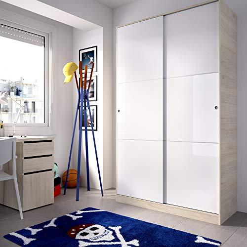 HOMEKIT Armario 2 Puertas correderas, Natural y Blanco Brillo, 120x204x50cm