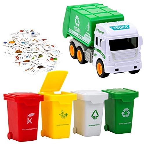 Urisgo Camion Spazzatura Giocattolo con 4 Bidoni, Spazzatura per la Gestione dei rifiuti Giocattoli Educativi per Ragazzi Ragazze