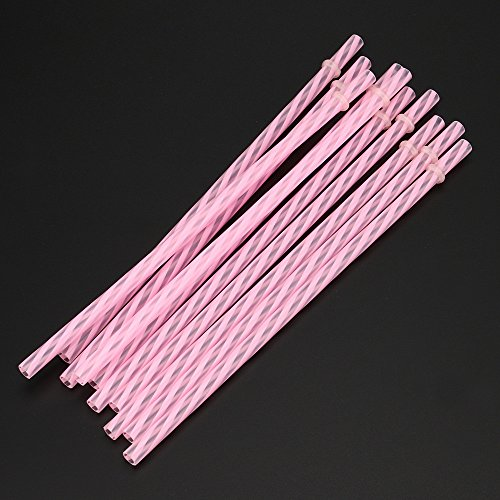 Colorful Reusable Hard Plastic Stripe Drinking Straws Party Decoration