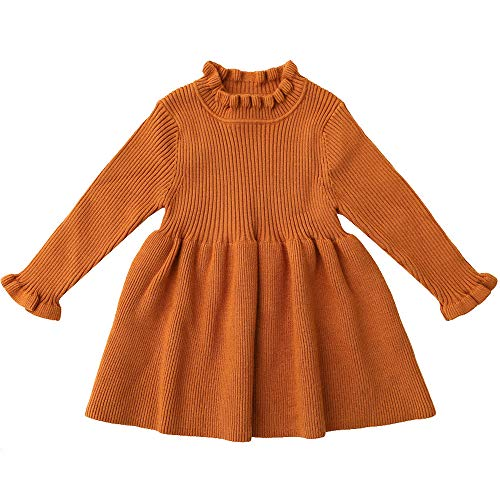 Brown Baby Long Sleeves Christmas Sweater Dresses for Girls 6M Newborn Toddler Little Girl Generic Ruffle Tutu Dress Stitching Knitting Pollover Tops for Kids