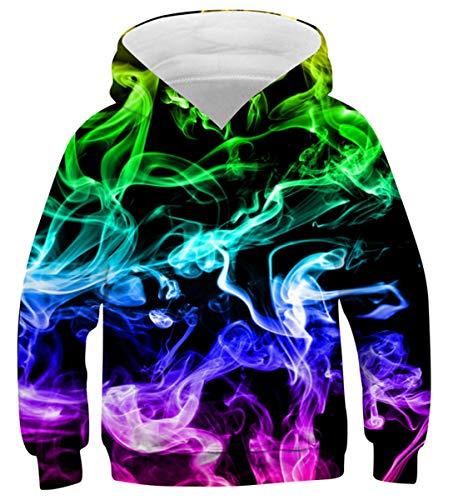 Belovecol 3D Smoke Hoodie Jungen Mädchen Bunte Kapuzenpullover Rundhalsausschnitt Pullover Langarm Sweatshirt mit Kapuze Mehrfarbig L