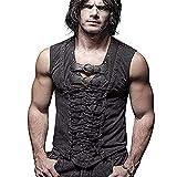 Punk Rock Man Cotton Leather Belt Sleeveless T-Shirt Front Strap Vest Bandage Casual Tank Tops (3XL, Black)