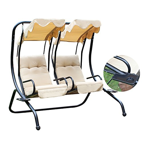 Joveco Canopy Awning Outdoor Porch Swings Chair, Two Separate Seat with Soft Pad