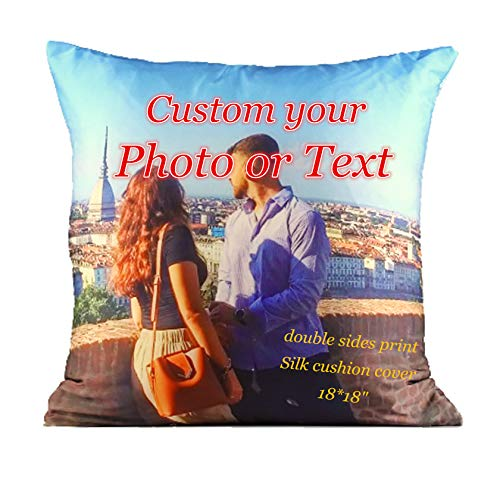 lttcbro Custom Silk Throw Pillow Covers Personalized Photo Text Gifts 18x18 inches