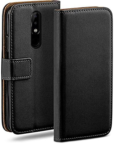 moex Klapphülle kompatibel mit Nokia 5.1 Plus Hülle klappbar, Handyhülle mit Kartenfach, 360 Grad Flip Hülle, Vegan Leder Handytasche, Schwarz