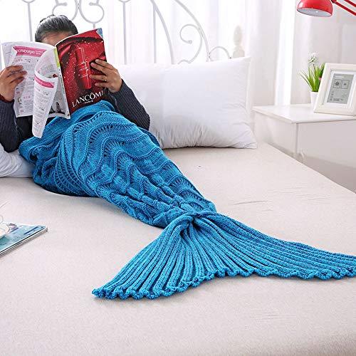 SHASHA Meerjungfrau Decke Mermaid Tail Decke Häkeln Meerjungfrau Decke Für Erwachsene Super Weiche All Seasons Schlafen Gestrickte Decken,F-90 * 190CM