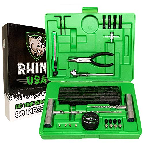 Rhino USA Tire Plug Repair Kit (56-Piece) Fix Punctures & Plug Flats with Ease - Heavy Duty Flat Tire Puncture Repair Kit for Car, Motorcycle, ATV, UTV, RV, Trailer, Tractor, Jeep, Etc.