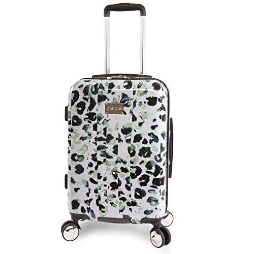 BEBE Women's Abigail 21' Hardside Carry-on Spinner Luggage, Winter Leopard, One Size