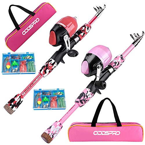 ODDSPRO Kids Fishing Pole inlcluding Fishing Lure and Carry Bag, Pink + Pink - 2 Pack 4.92Ft + 4.92Ft