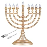 Aviv Judaica Traditional LED Electric Hanukkah Menorah - Battery or USB Powered - Includes a Micro USB 5' Cable